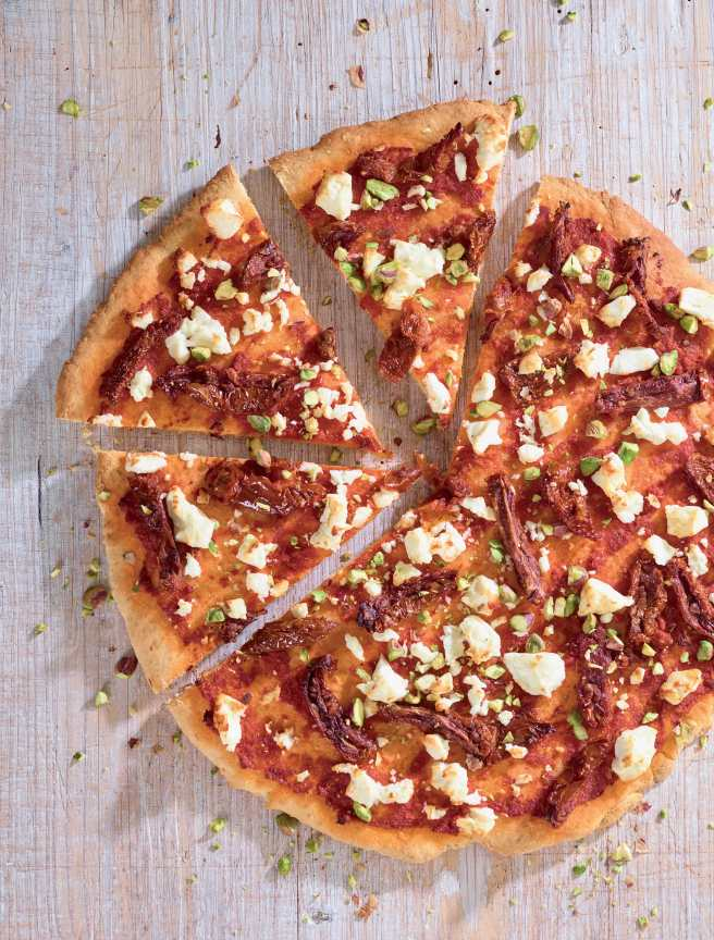 SS Red pesto and sun dried tomato pizza